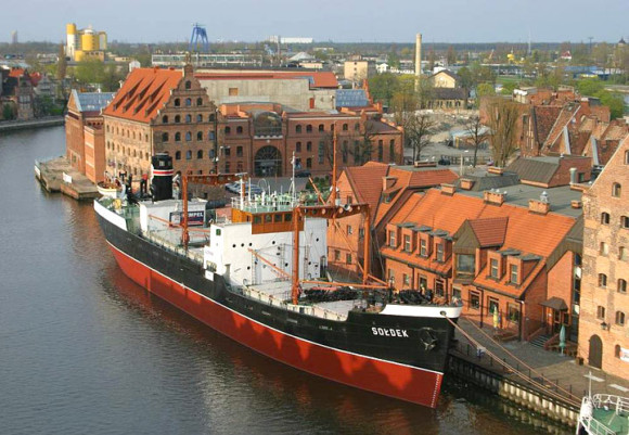 What to see in Gdansk where to visit the ship Soldek anchored in front of the Maritime Museum in Gdańsk