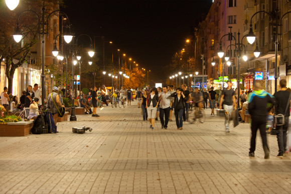 Bulevard Vitosha Sofia nightlife at night