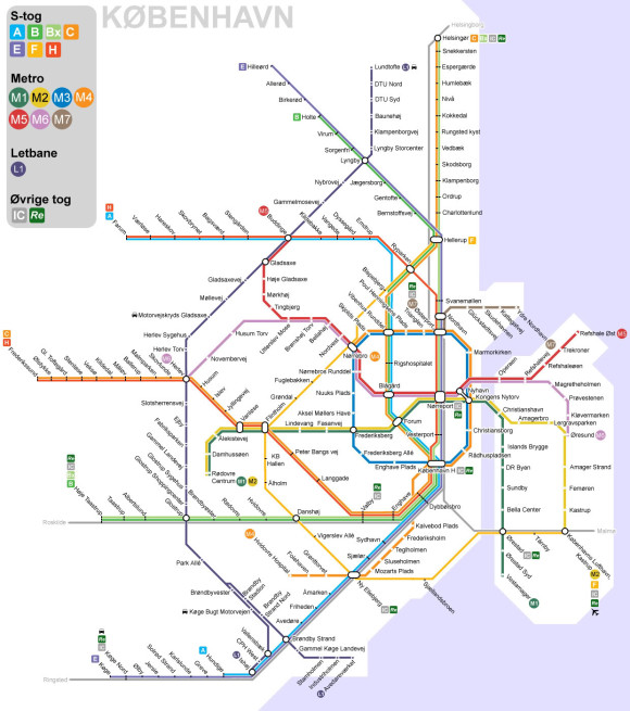 How to reach Copenhagen Airport Metro trains transport public transport network map links Copenhagen