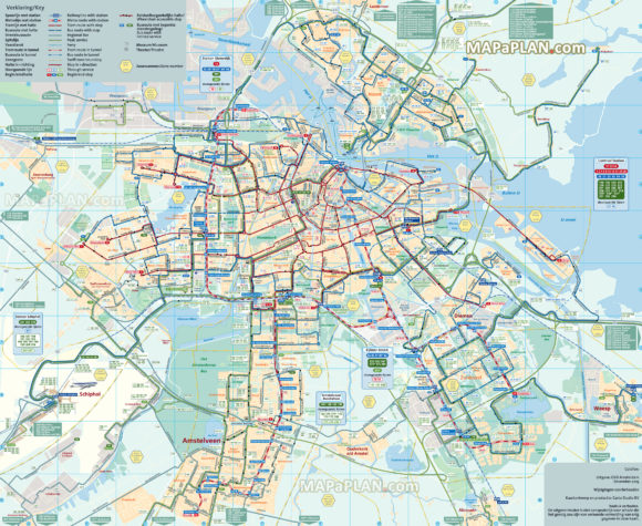 map of public transport in Amsterdam tram subway and bus
