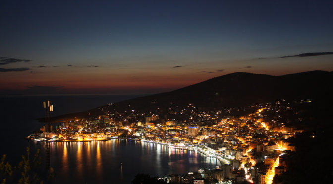 Albania Saranda by night