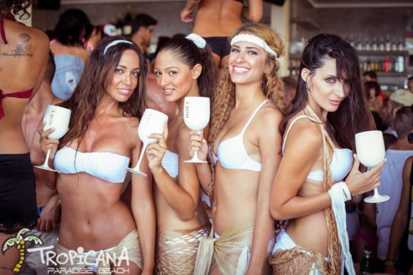 Mykonos nightlife Tropicana Beach Bar girls