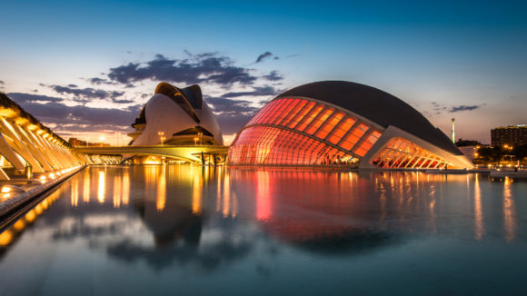 Nightlife Valencia City of arts and sciences at night
