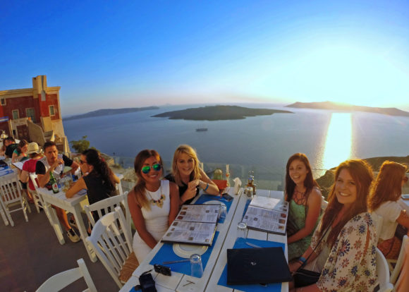 Nightlife Santorini sunset drink